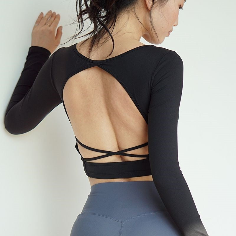 Open Back Long Sleeve Crop Top with Built-In Bra - 5 color options