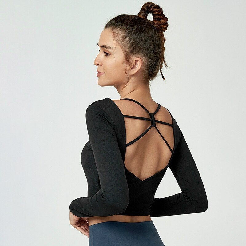 Long Sleeve Open Back Crop Top With Built-In Bra - 4 color options