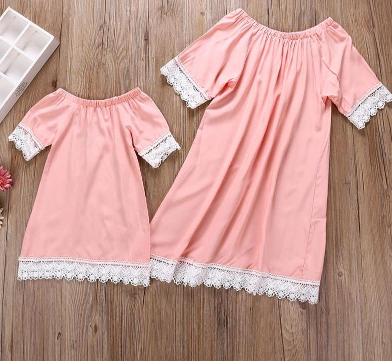 Pretty In Pink Mother Daughter Matching Dresses