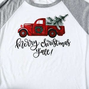 Merry Christmas Y'all Baseball T-Shirt Half Raglan Sleeve