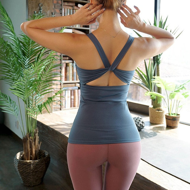Open Back Tank Top With Built-In Bra - 5 color options