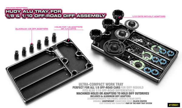 BANDEJA HUDY ALUMINIO FOR 1/8 OFF-ROAD DIFF ASSEMBLY