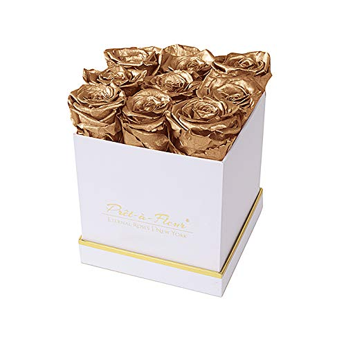 Preserved Gold Rosey Bunch Luxury Rose Box