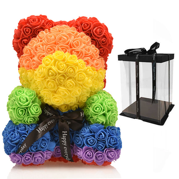 Premium LED Rosey Bunch Rose Bear Box