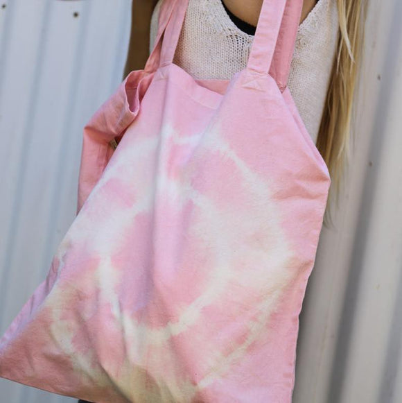 Organic Cotton Hand Dyed 'Rhubarb' Forage Tote