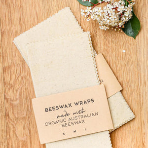 Hand Dyed 'Natural' Organic Australian Beeswax Food Wraps, 3 Pack.