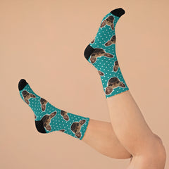Pet Custom Socks - Green polka