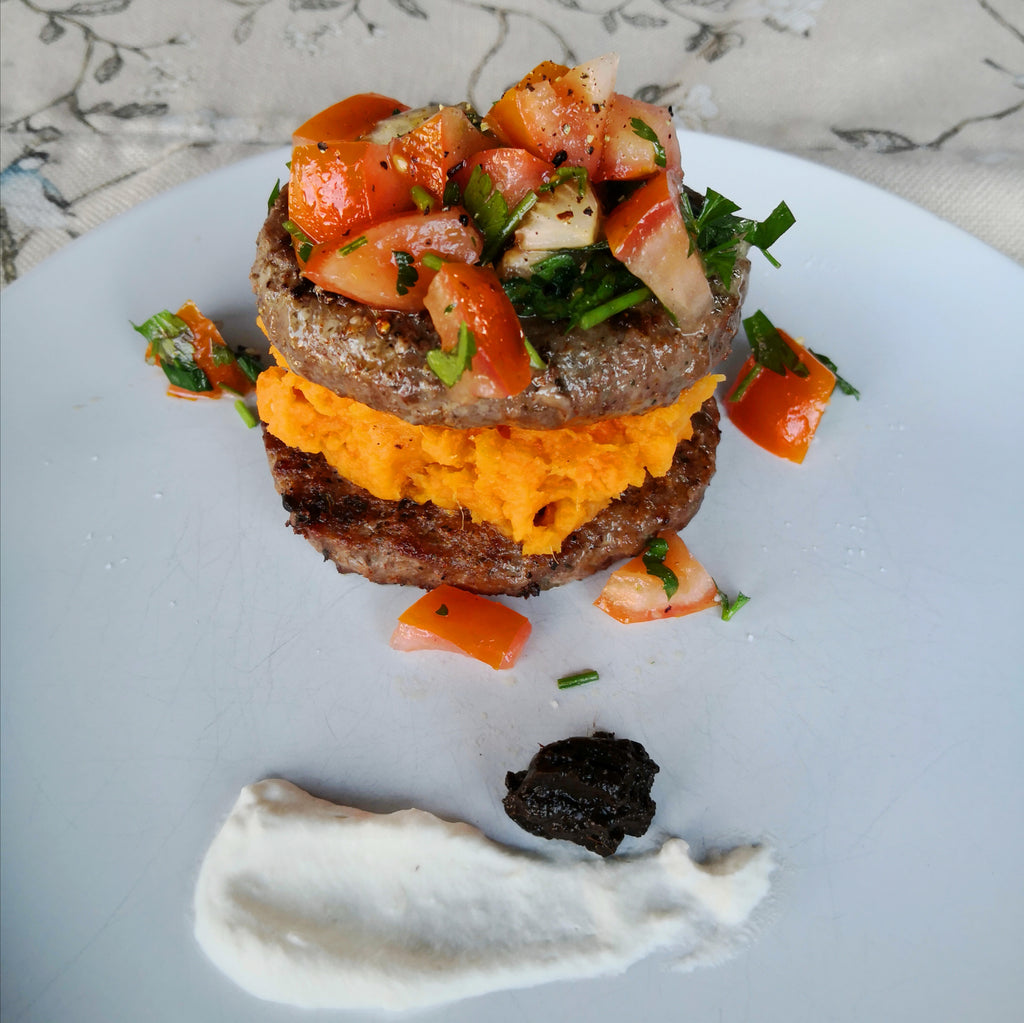 Burger Stack with Black Garlic Puree and Fresh Horseradish Cream