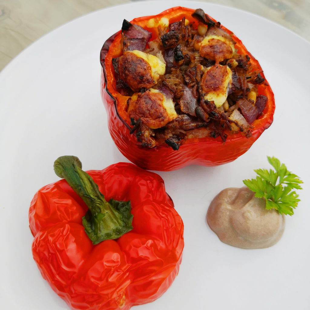Stuffed Capsicum with Black Garlic Rice