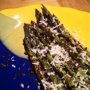 Roasted Asparagus with Black Garlic