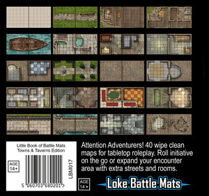 "Little Book of Battle Mats - Towns & Taverns Edition (6x6"")"