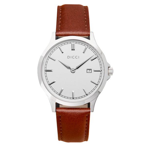 Brown Leather Strap Positano White Dial DICCI Shop Online