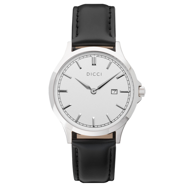 Black Leather Strap Positano White Dial DICCI Shop Online