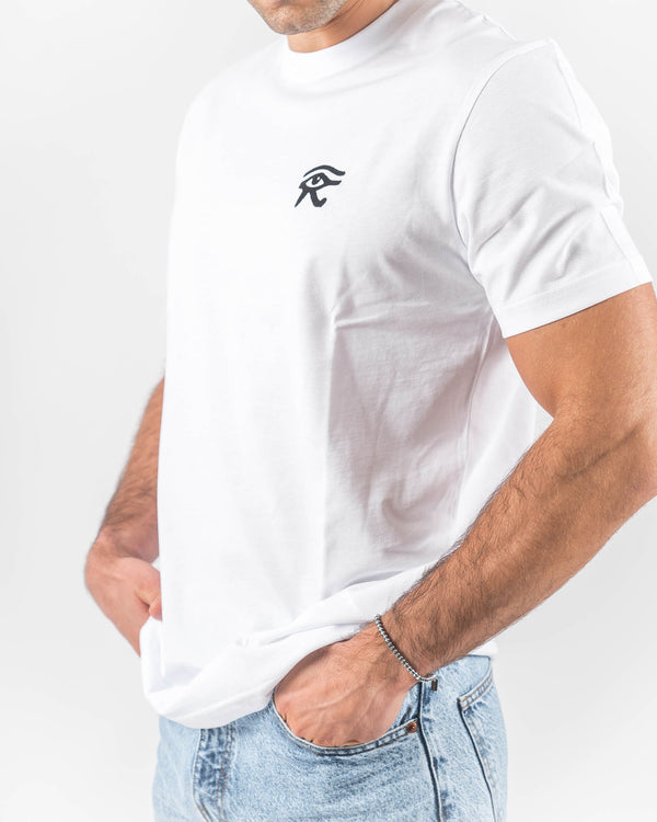 White T-shirt with Horus Eye Embroided
