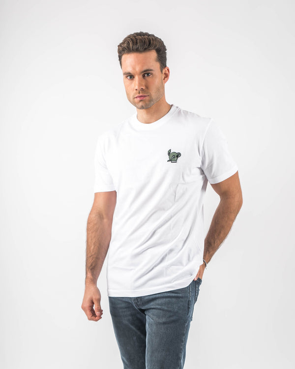 White T-shirt with Green Skull Embroided