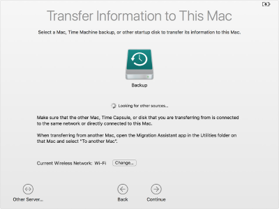 Select the machine in Apple Migration Assistant