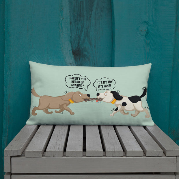 Cute Dogs Tug of War Premium Pillow - Pursuing Compatibility