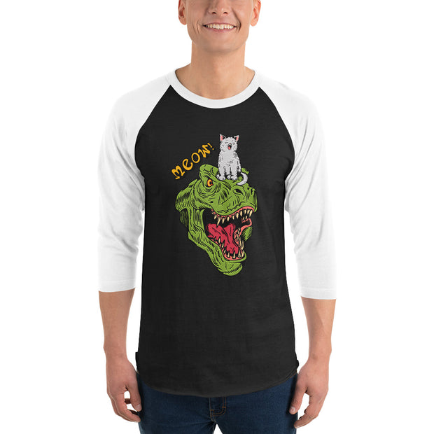 Dinosaur and Cat 3/4 sleeve raglan shirt - Pursuing Compatibility