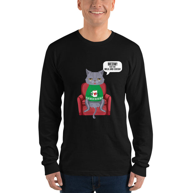 Funny Cat Drinking Cocoa Long sleeve t-shirt - Pursuing Compatibility