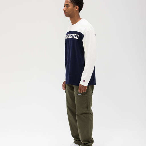 UNDEFEATED COLORBLOCKED L/S FOOTBALL TEE - NAVY/CREAM Image 6