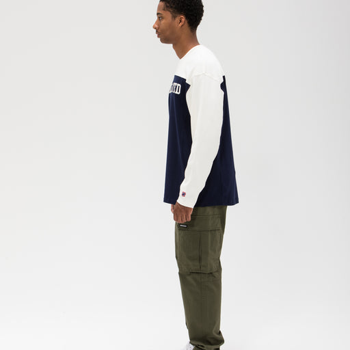UNDEFEATED COLORBLOCKED L/S FOOTBALL TEE - NAVY/CREAM Image 7