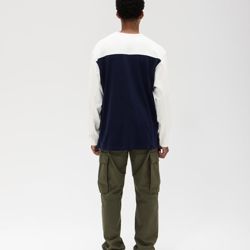 UNDEFEATED COLORBLOCKED L/S FOOTBALL TEE - NAVY/CREAM Image 8