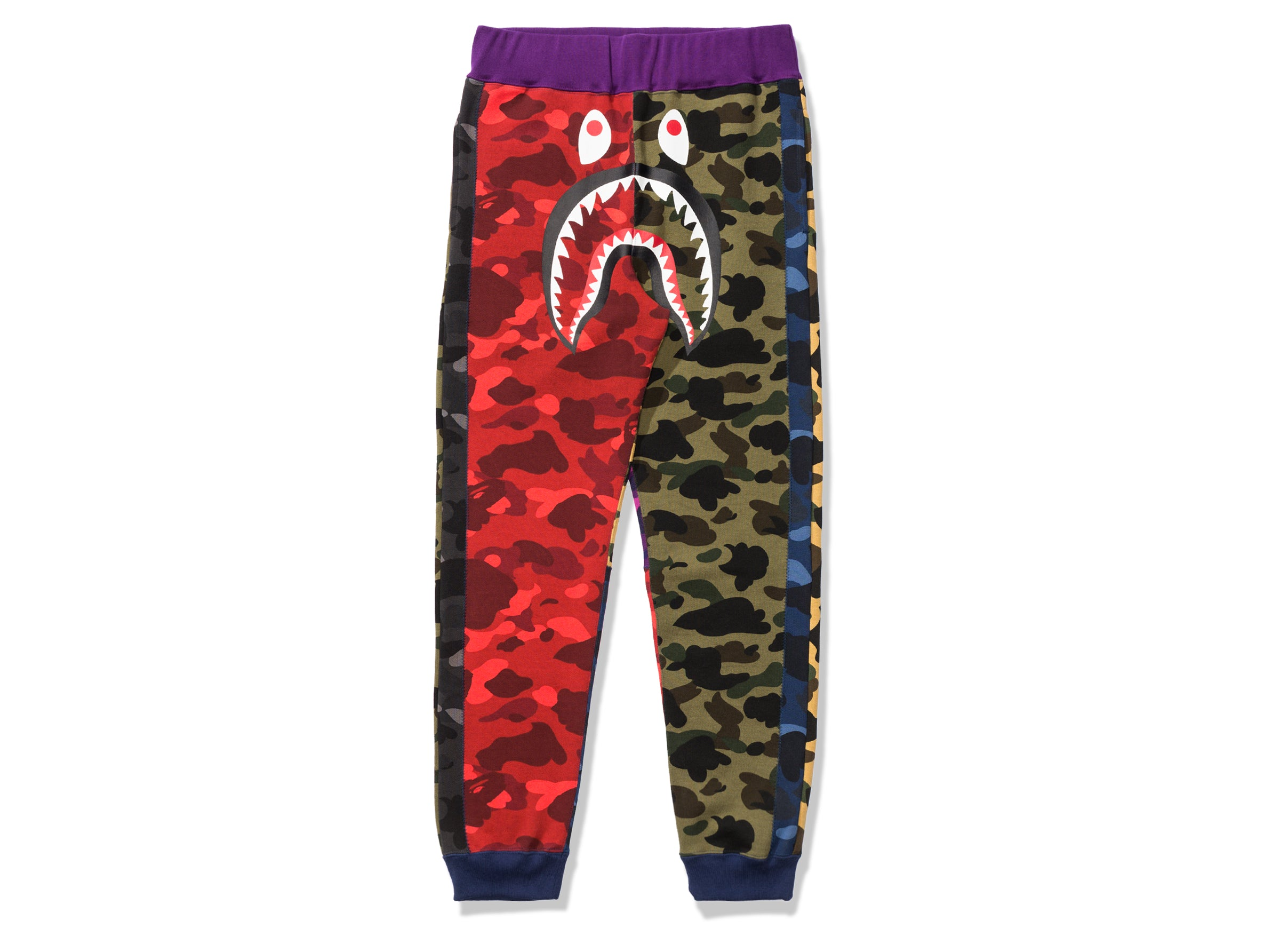 custom official price biggest selection BAPE MIX CAMO SHARK CRAZY SLIM SWEAT PANTS - MULTI