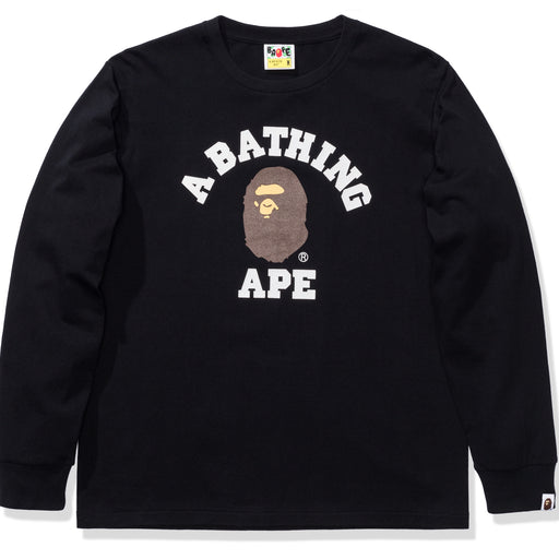 BAPE COLLEGE L/S TEE - BLACK