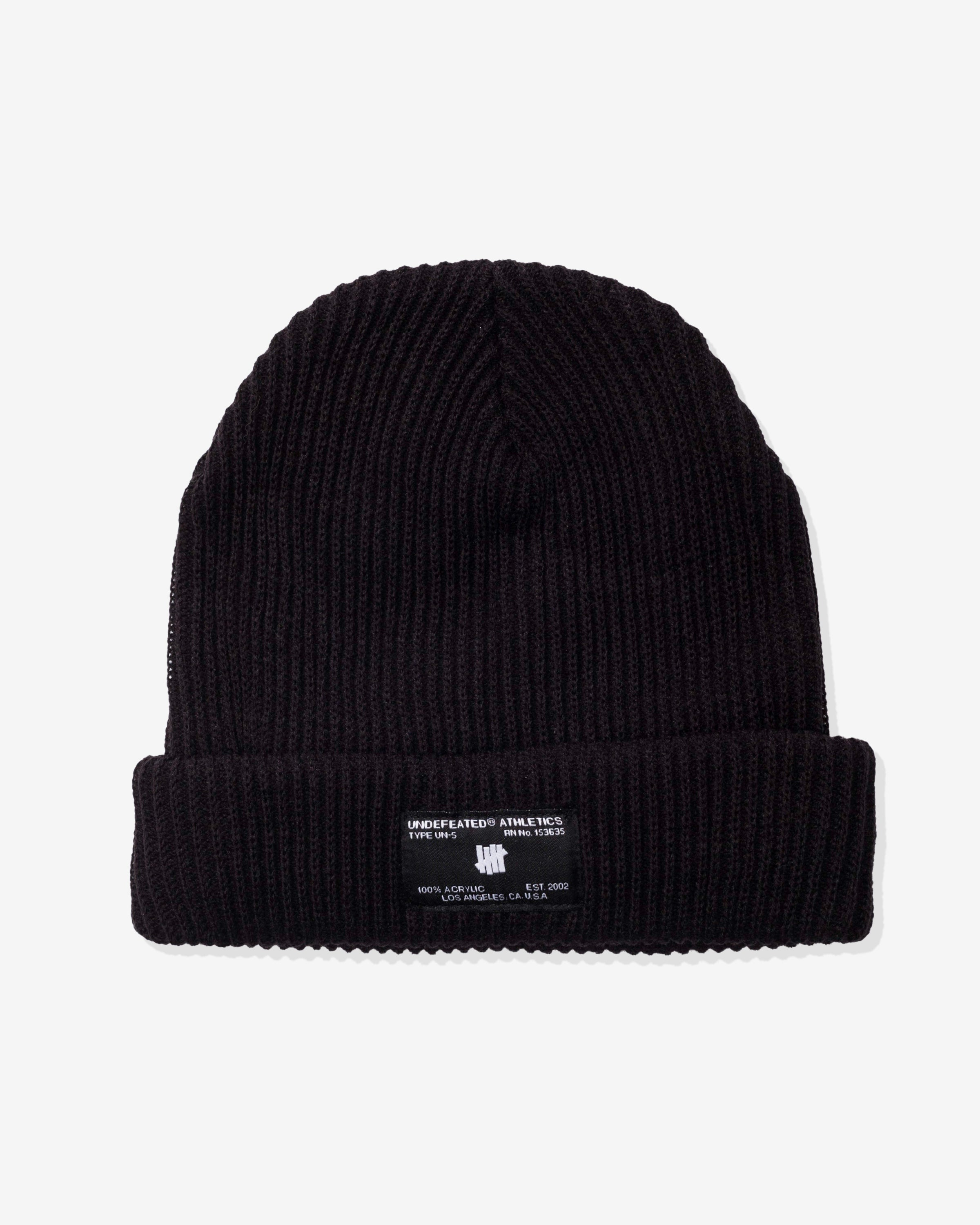 UNDEFEATED MILL SPEC DOUBLE CUFF BEANIE - BLACK