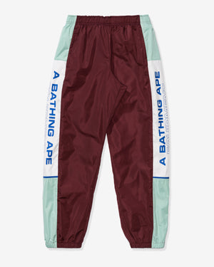 BAPE COLOR BLOCK TRACK PANTS - BURGUNDY