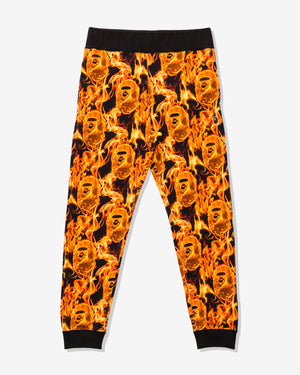 BAPE FLAME SLIM SWEAT PANTS - ORANGE