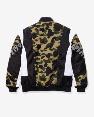 BAPE 1ST CAMO COLOR BLOCK PADDED JACKET - GREEN