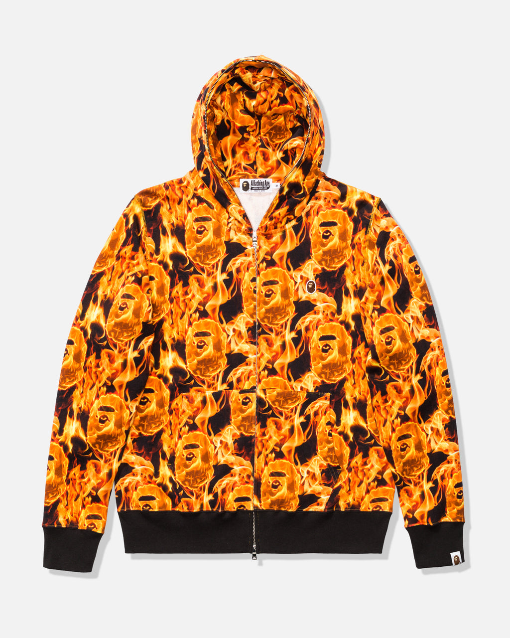 BAPE FLAME WIDE FULL ZIP HOODIE - ORANGE