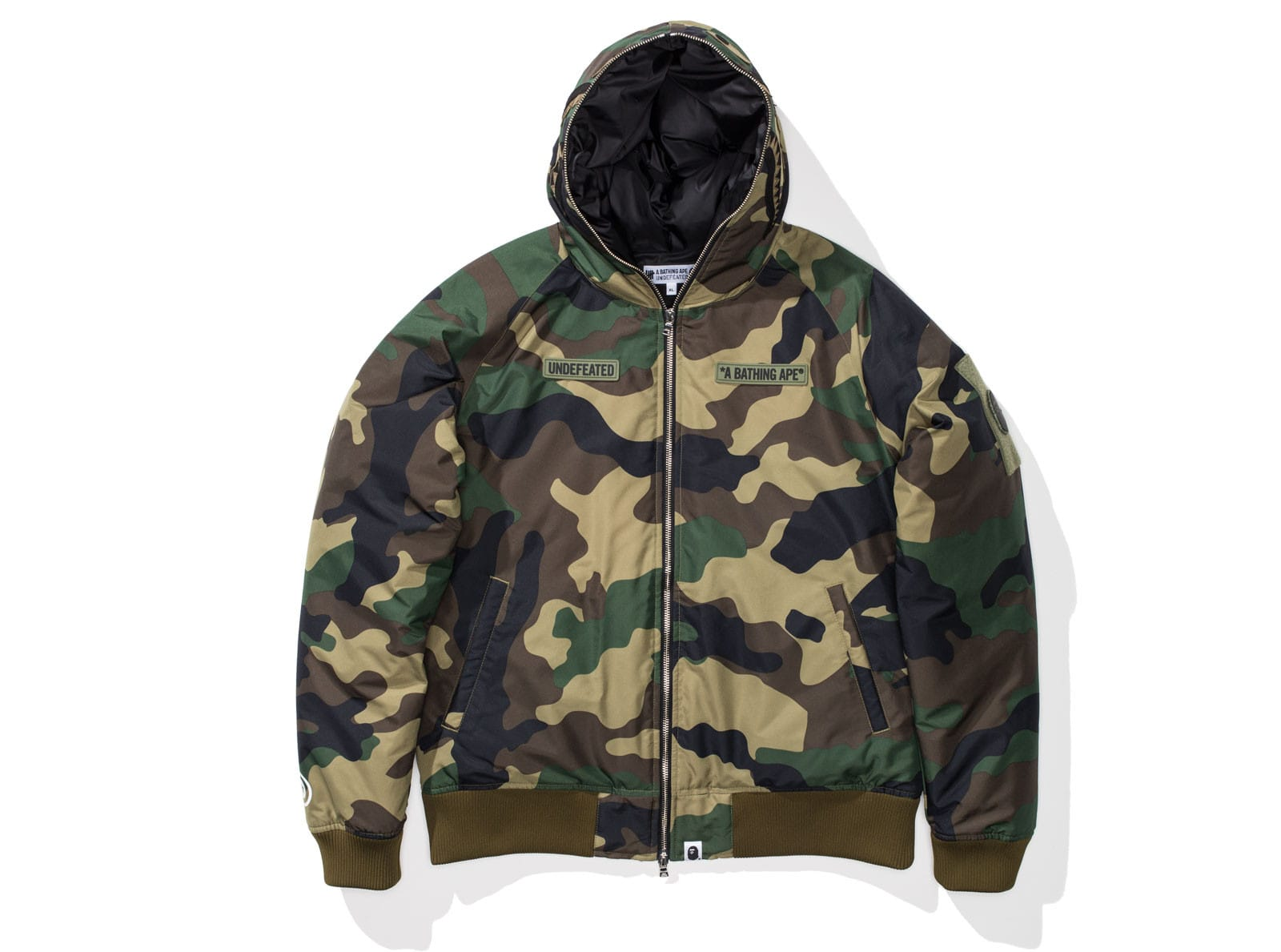 UNDEFEATED X BAPE WOODLAND CAMO SHARK DOWN JACKET