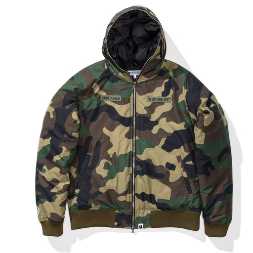 UNDEFEATED X BAPE WOODLAND CAMO SHARK DOWN JACKET Image 1