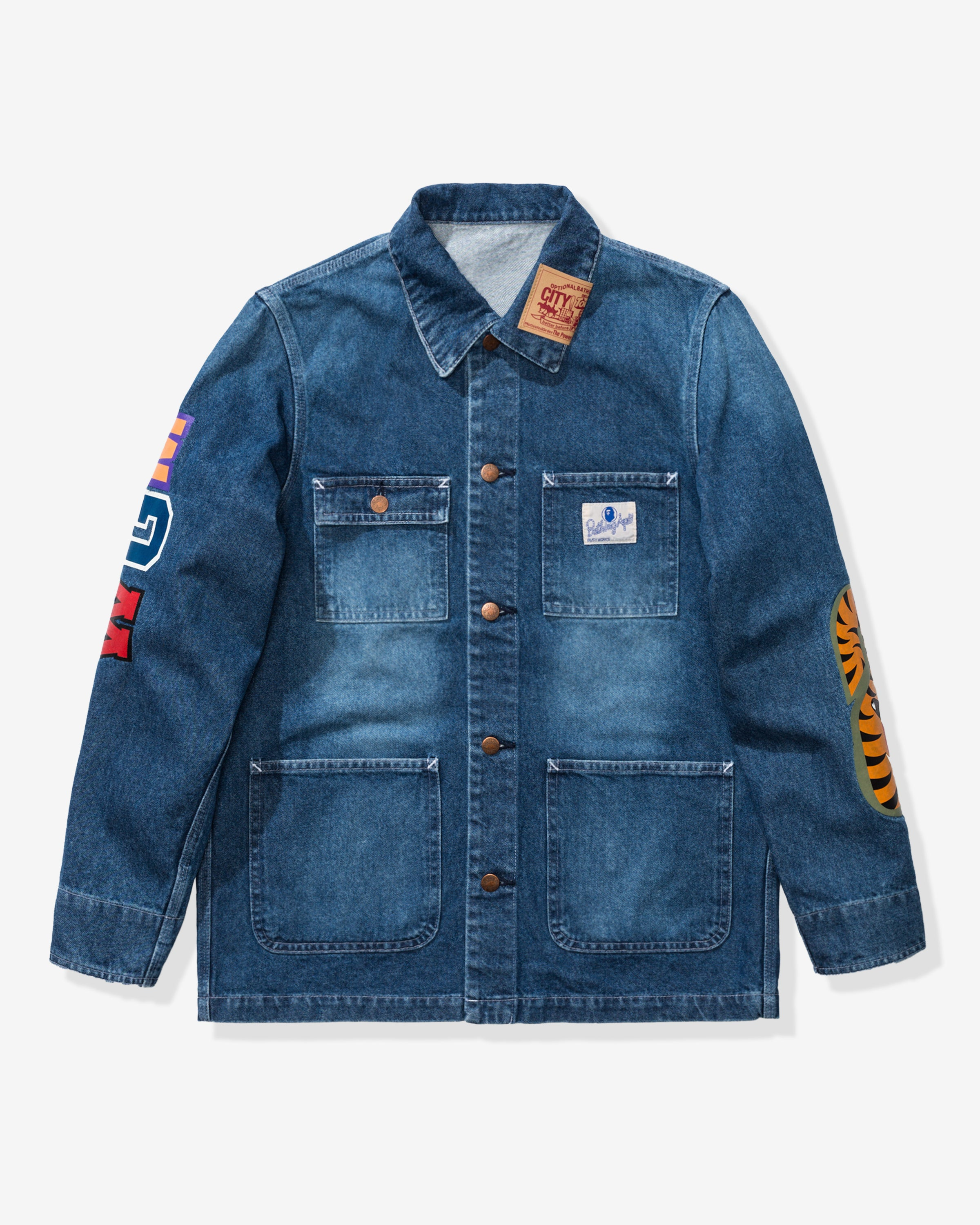 BAPE SHARK DENIM COVERALL JACKET - INDIGO