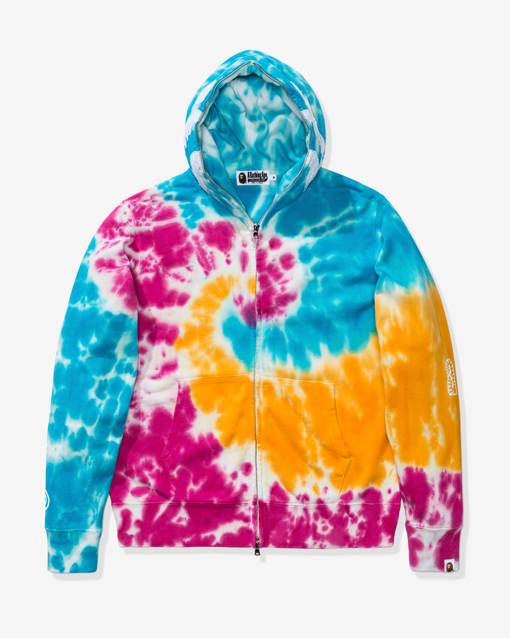 BAPE TIE DYE SHARK WIDE FULL ZIP HOODIE - MULTI