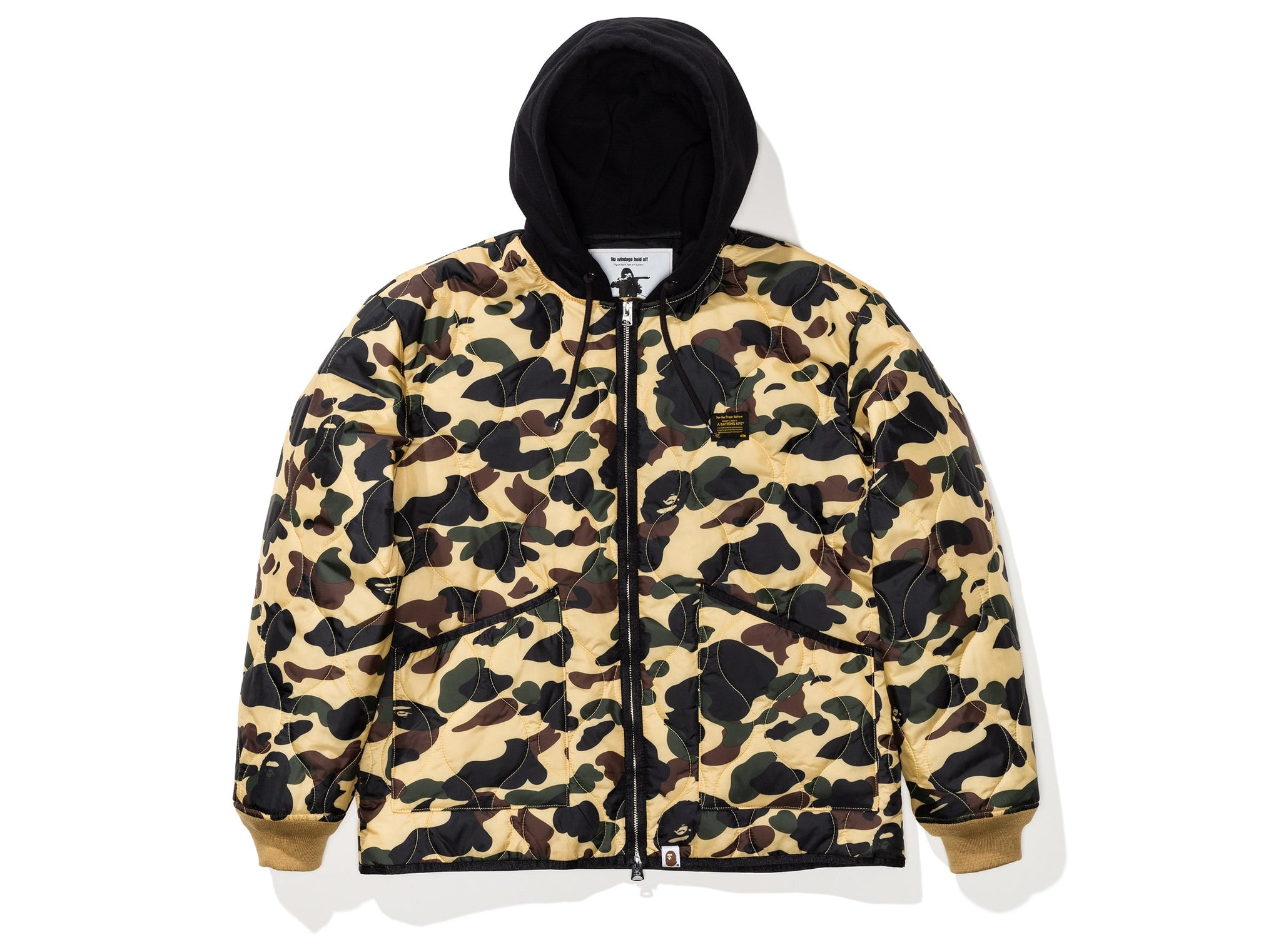 BAPE 1ST CAMO QUILTING HOODIE JACKET - YELLOW