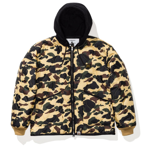 BAPE 1ST CAMO QUILTING HOODIE JACKET - YELLOW Image 1