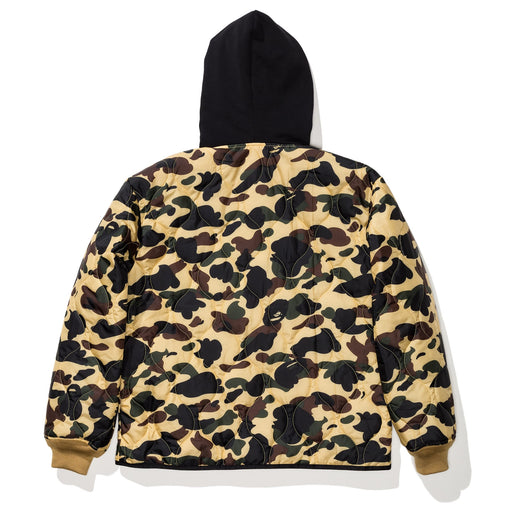 BAPE 1ST CAMO QUILTING HOODIE JACKET - YELLOW Image 2