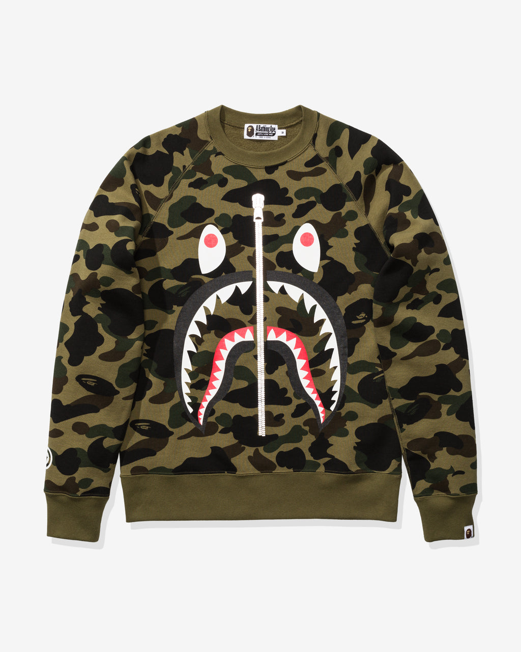 BAPE 1ST CAMO SHARK CREWNECK - GREEN
