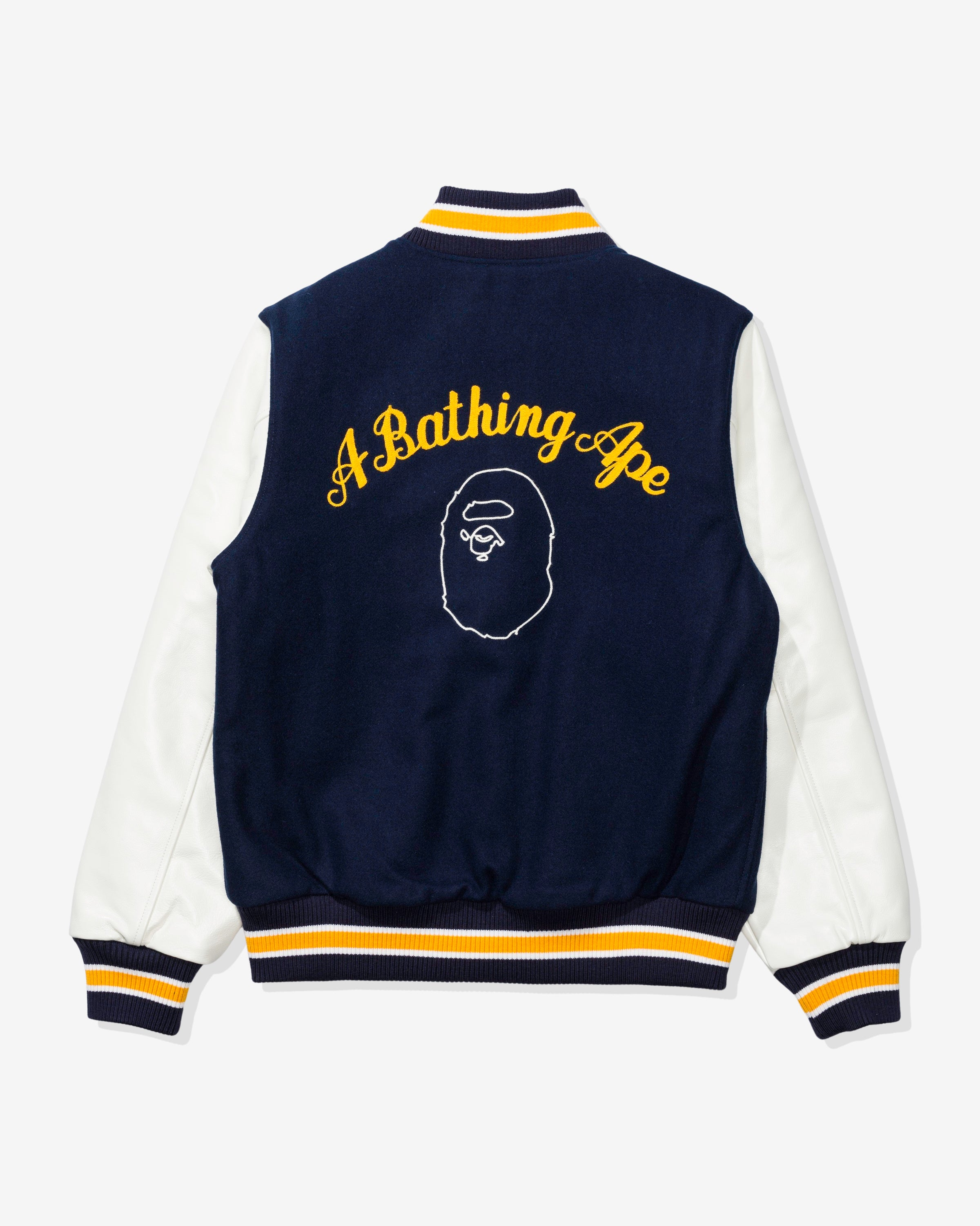 BAPE A BATHING APE VARSITY JACKET - NAVY