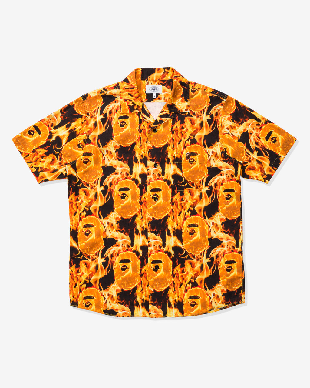BAPE FLAME OPEN COLLAR SHIRT - ORANGE