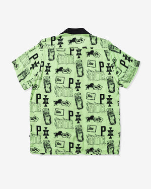 PATTA STAMP RAYON SHIRT - PARADISEGREEN/ BLACK
