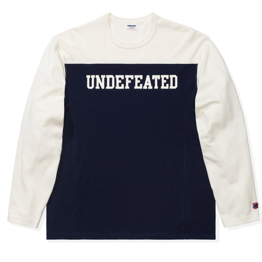 UNDEFEATED COLORBLOCKED L/S FOOTBALL TEE - NAVY/CREAM Image 1