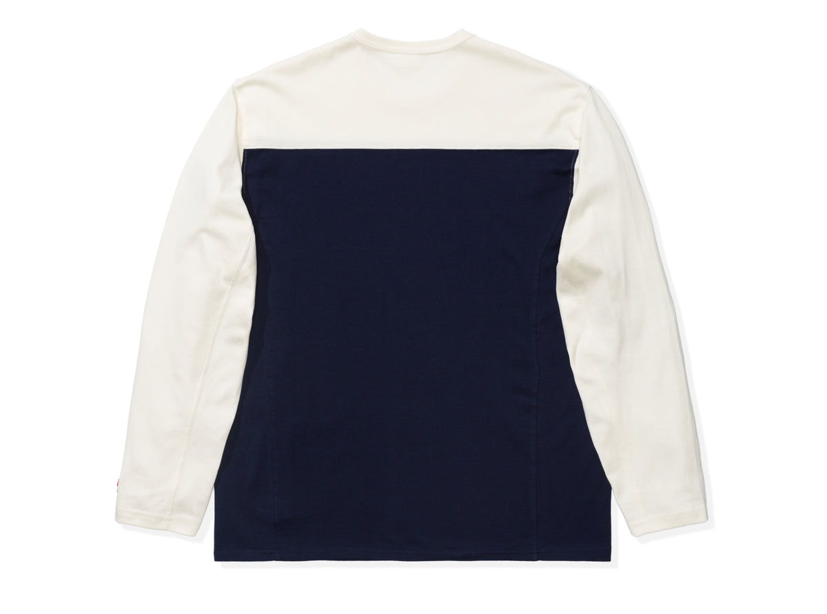 UNDEFEATED COLORBLOCKED L/S FOOTBALL TEE - NAVY/CREAM