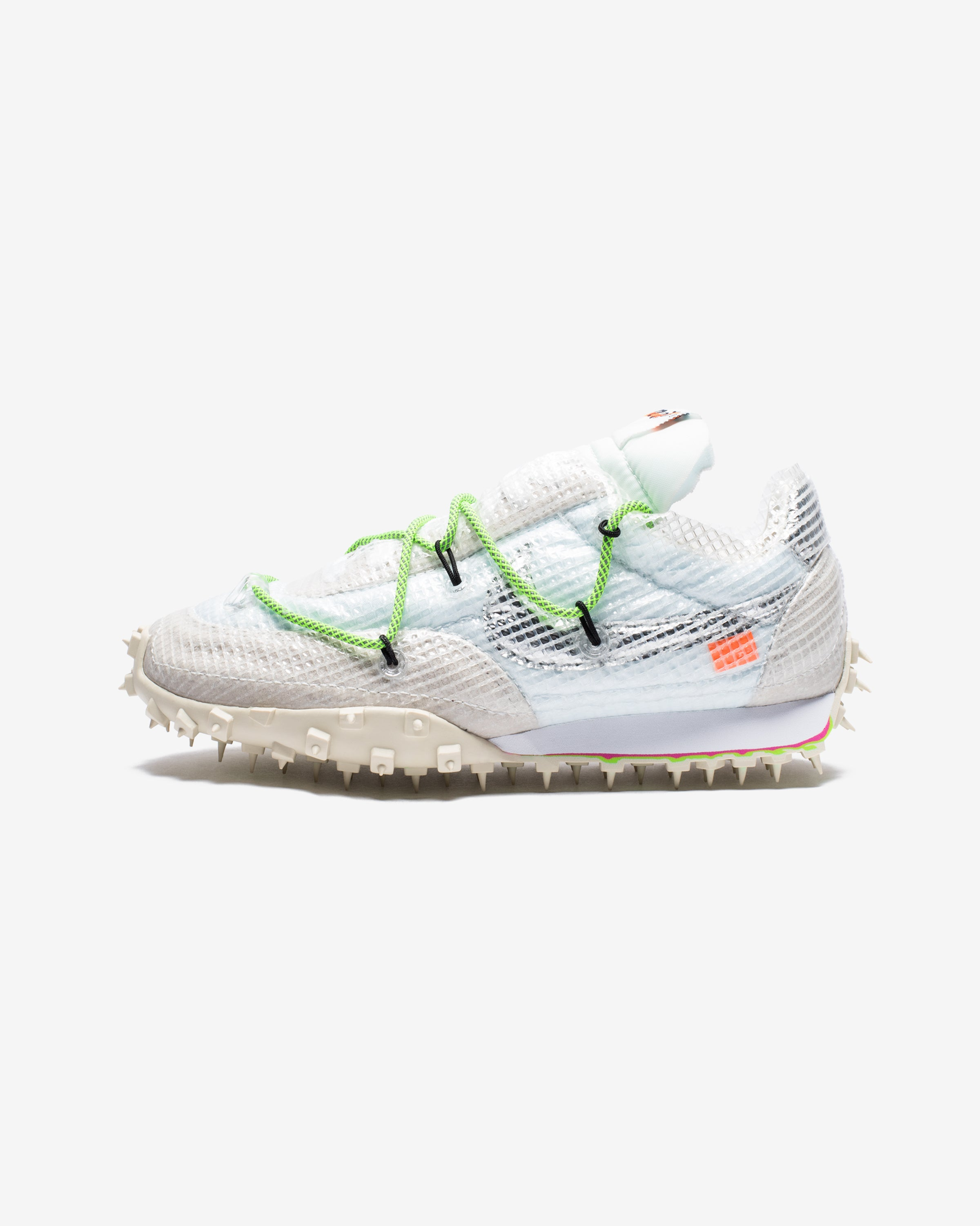 NIKE X OFF-WHITE WOMEN'S WAFFLE RACER - WHITE/ELECTRICGREEN