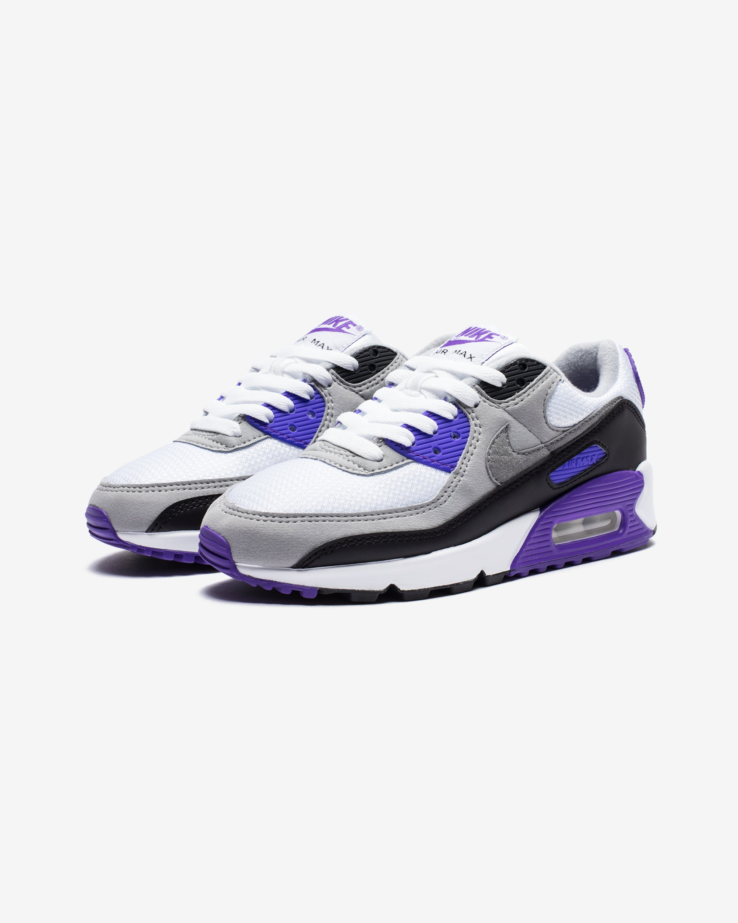 WOMEN'S AIR MAX 90 - WHITE/PARTICLEGREY/HYPERGRAPE/BLACK