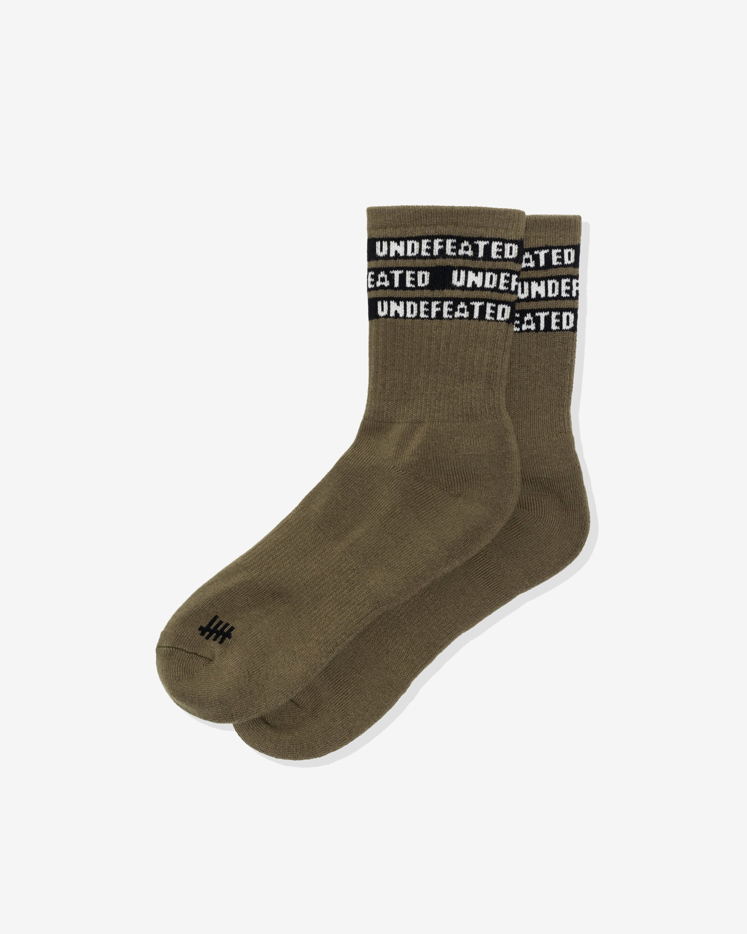 UNDEFEATED CREW SOCK - MILITIAGREEN/ BLACK