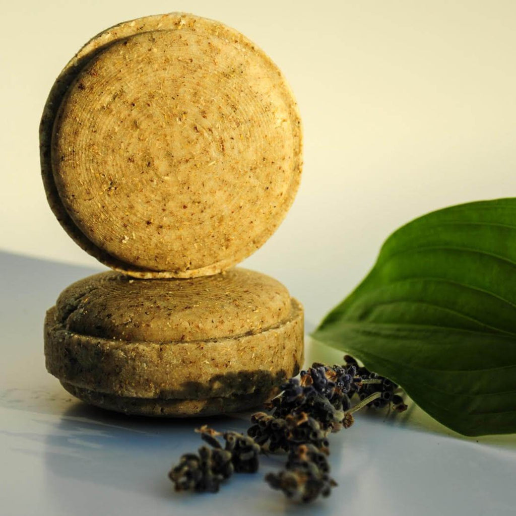 Somi-Lavender-Chamomile-Shampoo-Bar-Side--And-Top-Profile-Lifestyle-Shot-Terra-Collective